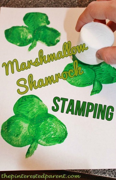 Stamp clovers with marshmallows